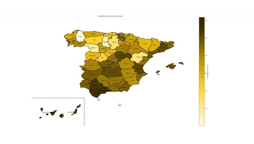Mapa Hocelot: porcentaje de uso 4G por provincia